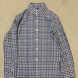 BR Slim Fit Dress Shirt XS - Brown Blue Gingham